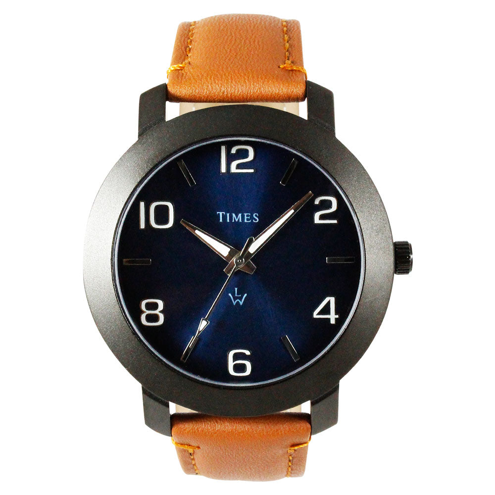 Times Watch for Men-Tan Leather Strap-Blue-01INBLS3