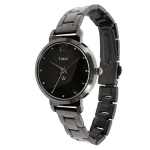 Side face of black color ladies watch. This watch is under 1500 rs. Best price in India. Offer ends soon