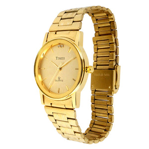 Gents Watch Round | Gold | Times Brand | 1 Year Warranty