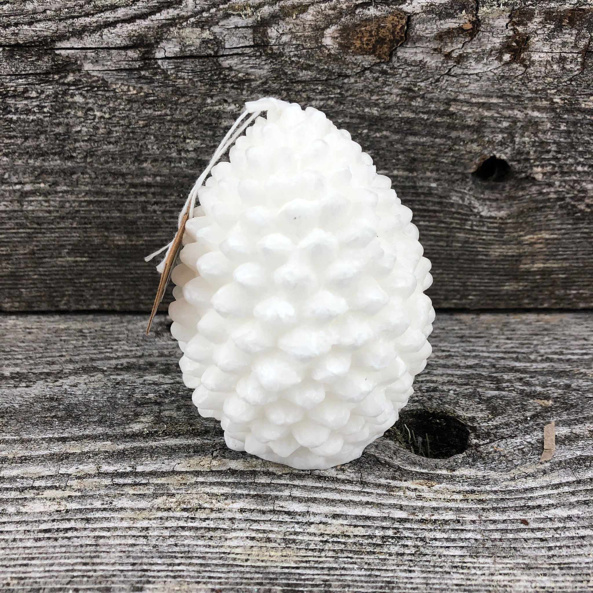 Small white pine cone candle