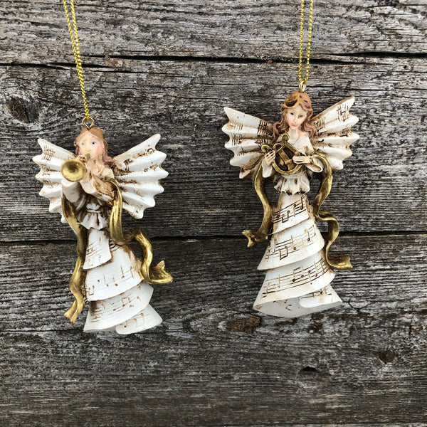 Cream and gold music angel ornament