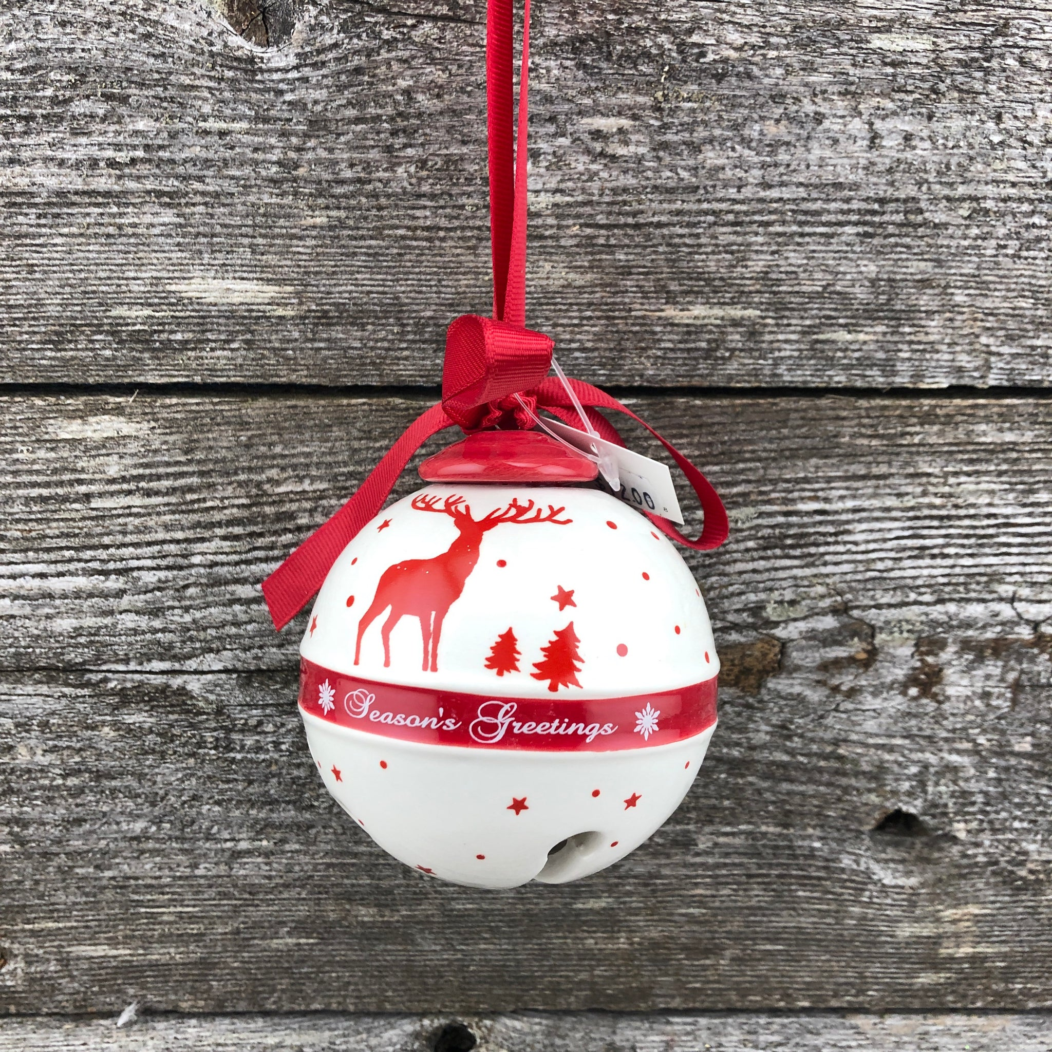 Glass jingle bell hanging ornament