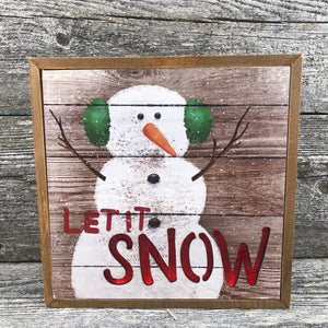 "Standing snowman sign with lit "" SNOW"" 8x8"""