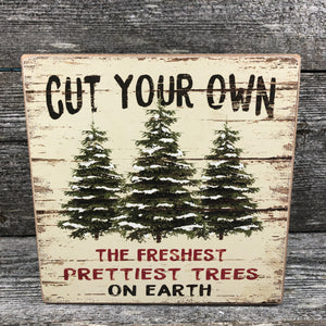 Standing wooden tree sign 6x6""