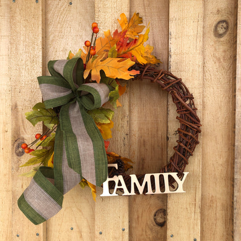 Fall wreath with green ribbon 12""