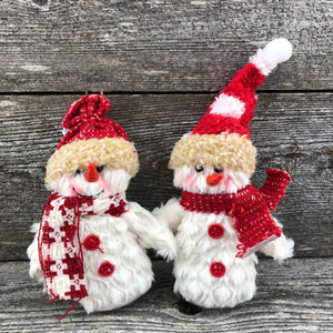 Stuffie red and white snowman ornament