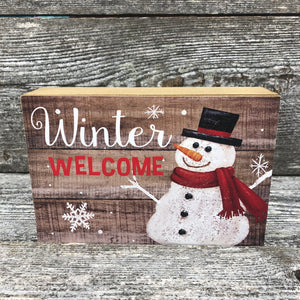 """Winter welcome"" hanging or standing snowman sign 6x4"