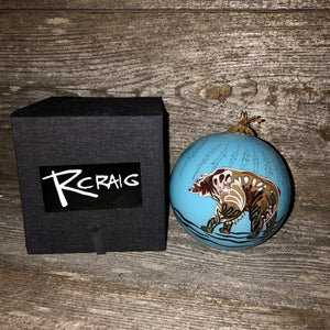 "Robbie Craig Glass Ornament ""Grizzly"""