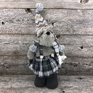 Grey mouse stuffie with dress 17""