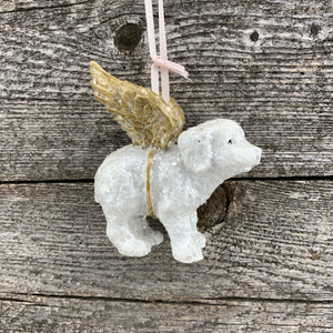 Dog & cat angel ornament