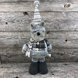 Grey mouse stuffie with coat 19""