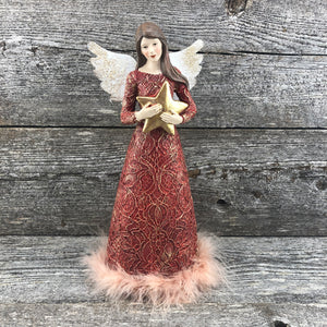 Red & gold angel with star and fur dress 11""