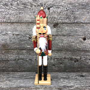 "Green & white ""King"" Nutcracker 15"""