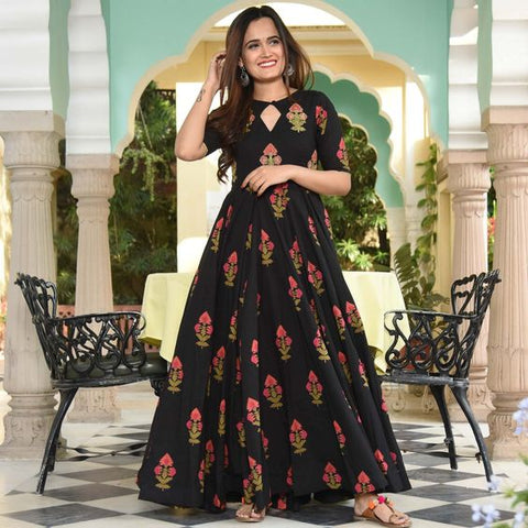 FANTASTIC FLOWER DESIGN PRINTED BLACK COLOUR GOWN