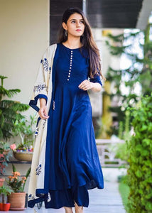 ROUNDER ROYAL BLUE COLOUR LONG KURTI WITH WHITE BUTTON AND BLUE COLOUR PLAZOO AND FLOWER DESIGN PRINTED DUPATTA