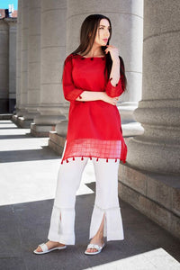 PENDANT LACE RED COLOUR NET FABRIC PLAIN STRAIGHT CUT KURTI WITH WHITE COLOUR PLAZZO