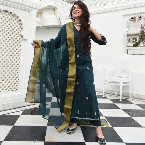 SACRAMENTO DARK GREEN COLOUR EMBROIDERY WORK STRAIGHT CUT KURTI WITH GREEN COLOUR PLAZZO AND GREEN CHIFFON DUPATTA