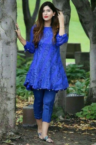 BEAUTIFUL BLUE COLOUR DESIGNER NET ROUNDER SHORT KURTI WITH BLUE COLOUR PLAZZO AND WHITE COLOUR BUTTON