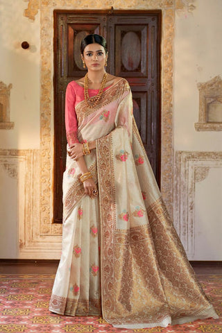 New Arrival Off-white & peach woven Banarasi Brocade Saree With Blouse