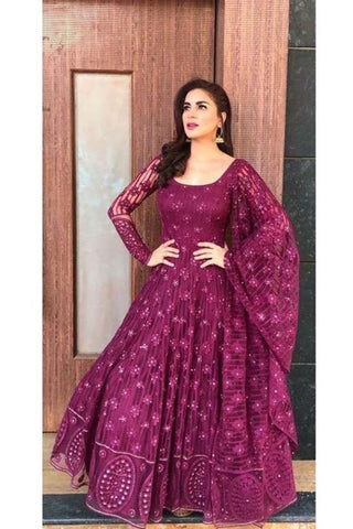 EGGPLANT PURPLE COLOUR EMBROIDERY WORK NET GOWN WITH NET EMBROIDERY WORK DUPATTA