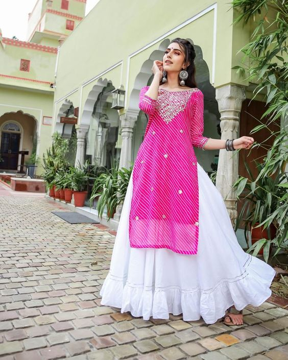 EMBROIDERY WORK PINK COLOUR BANDHNI PRINTED STRAIGHT CUT KURTI WITH WHITE COLOUR LACE SKIRT