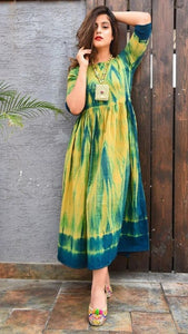 SHED BATTLE COLOUR AND YELLOW COLOUR DESIGNER ONE PICS GOWN