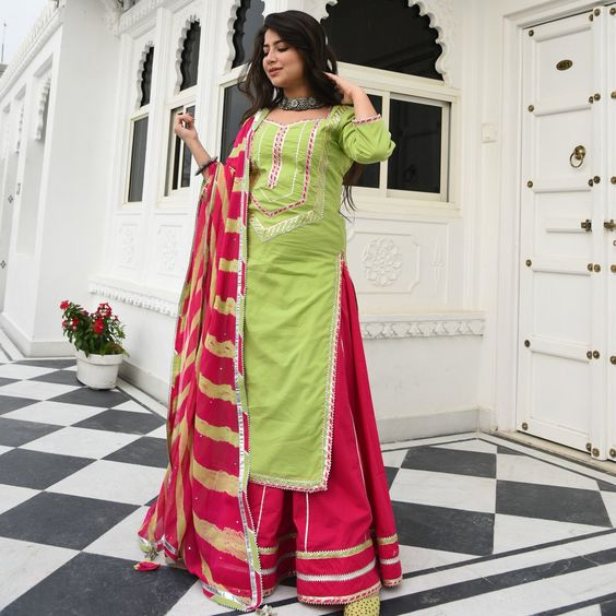 KELLY SOFT GREEN COLOUR EMBROIDERY WORK  STRAIGHT CUT LONG KURTI WITH PINK COLOUR SKIRT AND CHIFFON PRINTED DUPATTA