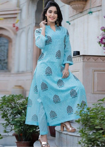 ARCTIC LIGHT SKY BLUE COLOUR STRAIGHT CUT PRINTED KURTI WITH SKY BLUE COLOUR PLAIN PLAZZO