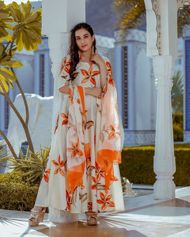 TANGERINE ORANGE COLOUR FLOWER DESIGN WHITE COLOUR LONGER GOWN WITH ORANGE AND WHITE COLOUR CHIFFON DUPATTA