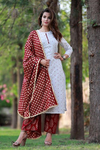 WHITE COLOUR STRAIGHT CUT EMBROIDERY WORK KURTI WITH GARNET RED COLOUR PRINTED PLAZZO AND PRINTED DUPATTA