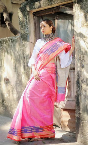 Baby Pink Saree With Multi Colored Woven Ikat Weaves