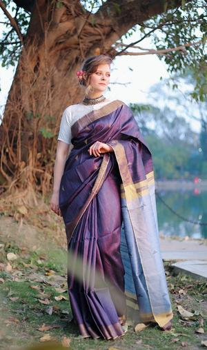 Navy Blue Saree with Grey & Gold Pallu With Blouse