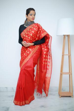 Red Silk Linen Saree & Gold Jamdani Work Pallu With Blouse