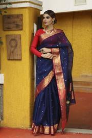 Attractive  Blue Shade Handwoven Chanderi Silk Saree with Blouse