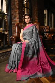 Desirable Grey Shade Handwoven Linen Saree With Blouse