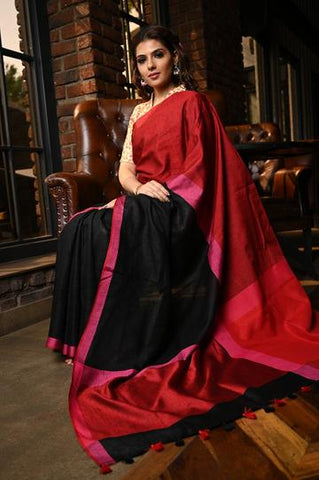 Ethnic  Black Shade Handwoven Linen Saree with Blouse