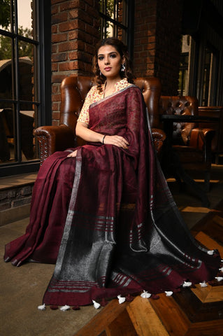 Charming  Wine Shade Handwoven Linen Saree with Blouse