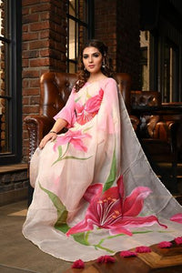 Peach Shade Handpainted Organza Silk Lilium Exclusive Beatitude Saree