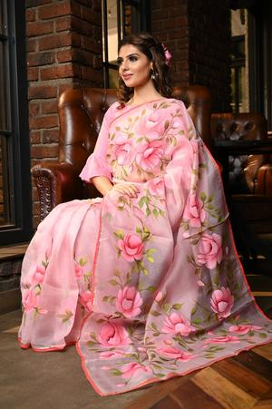 Exceptional Pink Shade Handpainted Organza Silk Saree With Blouse