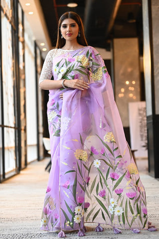 Lavender Shade Handpainted Organza Silk Saree With Blouse