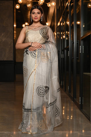 Impressive White Hand Block Print Organza Silk Saree With Blouse