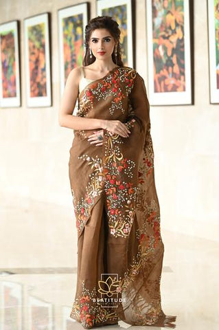 Brown Shade Organza Silk Hand Embroidered Saree With Blouse