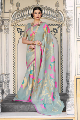 Beautiful powder blue linen saree With Blouse