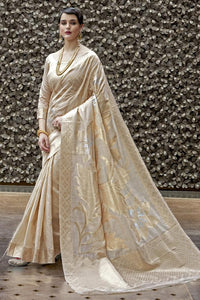 Grand golden Banarasi brocade silk Saree With Blouse