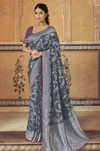 Charming Ash grey Banarasi  saree With Blouse
