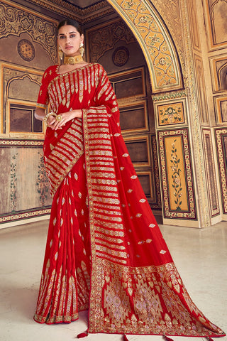 Lipstick red woven designer banarasi saree with embroidered silk blouse