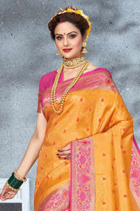 Mustard yellow woven banarsi  Saree With Blouse