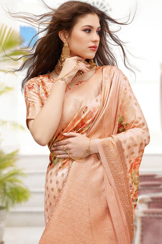 Soap orange zari woven banarasi saree With Blouse
