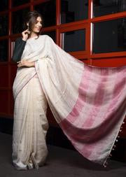 Ethnic White Handwoven Linen Saree with Pink Pallu With Blouse