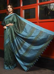 New Arrival Green Shade Handwoven Linen Saree With Blouse